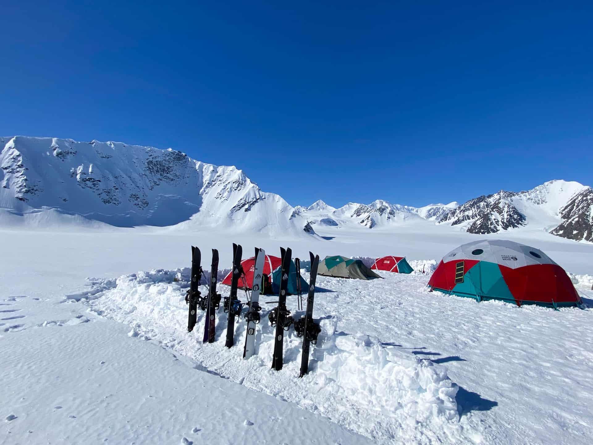 Glacier basecamp for the Pulseline Adventure AK backcountry camp