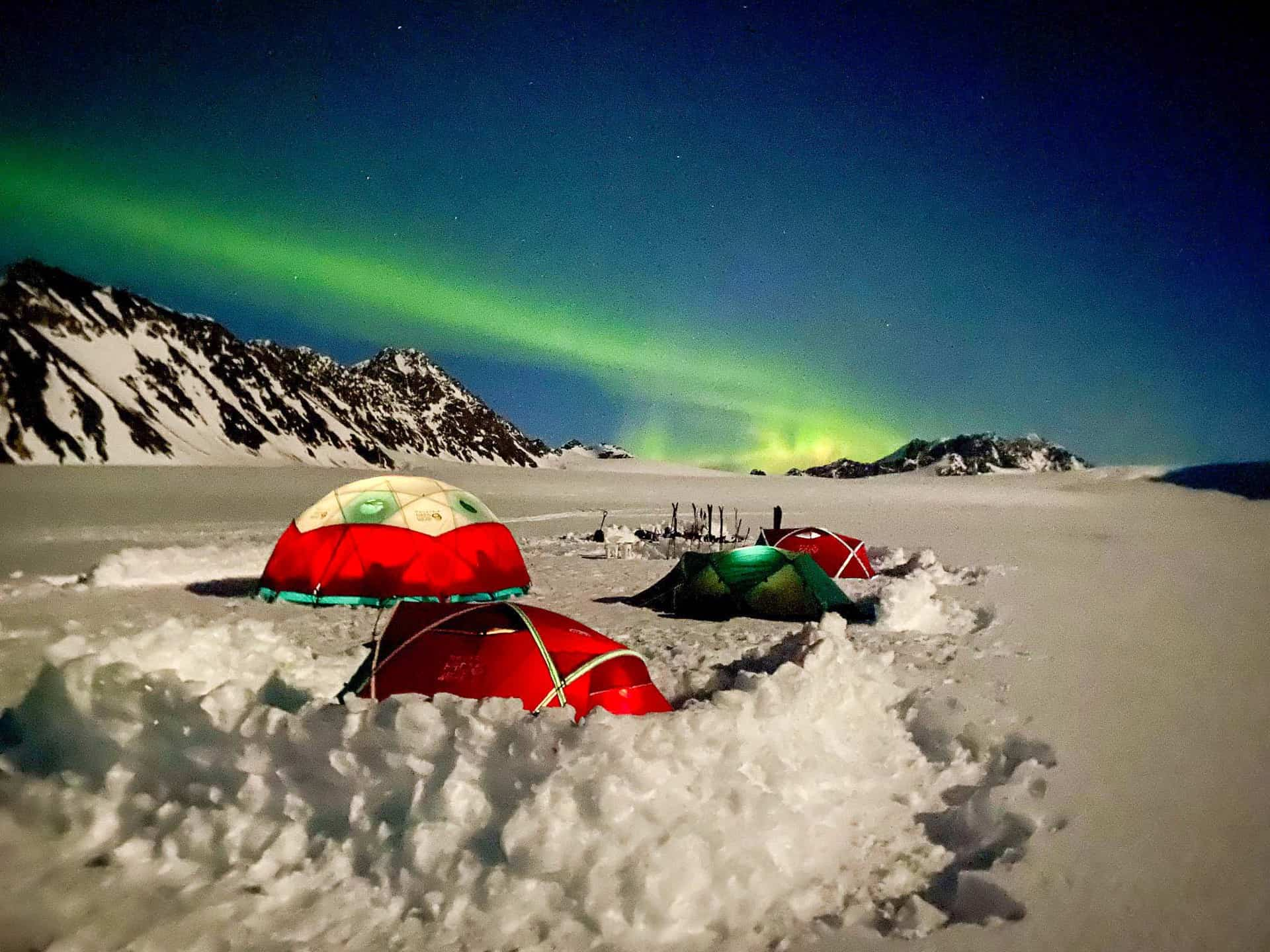 Camping on a glacier in the Chugach Mountains with Pulseline Adventure